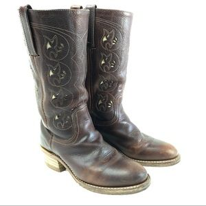 Frye Austin Flower Cut-out Western Cowboy Boots